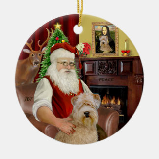 Santa-Wheaten Terrier Round Ceramic Ornament