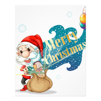 Santa with a brown bag full of gifts personalized letterhead