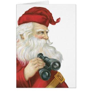 Santa with binoculars card