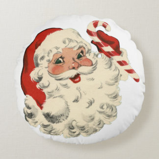 Santa With Candy Cane Round Pillow