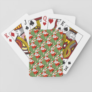 Santa with Candy Canes Christmas Playing Cards