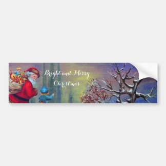 SANTA WITH CHILD IN THE WINTER SNOW BUMPER STICKER