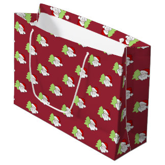 Santa With Christmas Tree Pattern Large Gift Bag