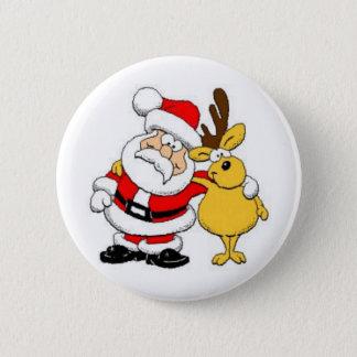 Santa With Deer 2 Inch Round Button