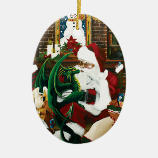 santa with dragon friend ceramic ornament