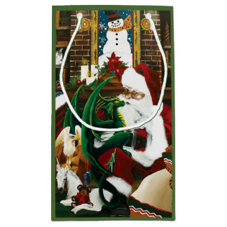 Santa with Dragon Friend Small Gift Bag