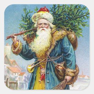Santa with Fir Tree Square Sticker