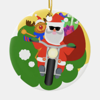 Santa with Goodie Bag Round Ceramic Ornament