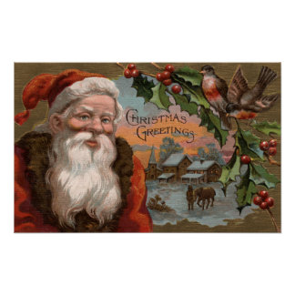 Santa with Holly, Village Scene Poster