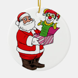 Santa with jack in the box ceramic ornament