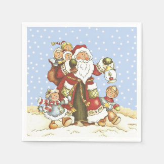 Santa With Lantern Children in Falling snow Paper Napkin