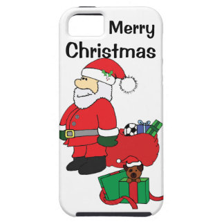 Santa with Puppy in Gift Box iphone case