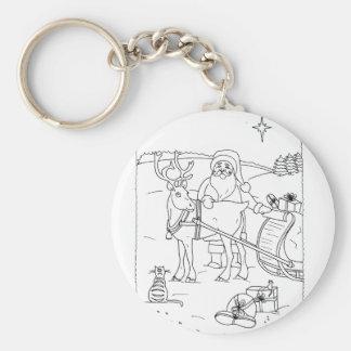 Santa With Reindeer Keychain