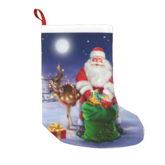 Santa with Reindeer Small Christmas Stocking