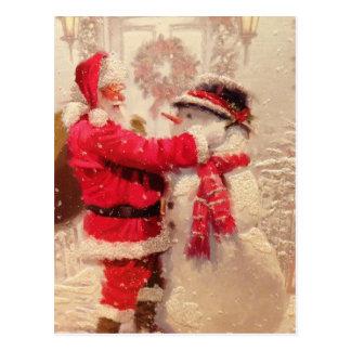 Santa with Snowman Postcard