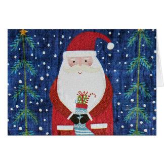 Santa with Stocking Card