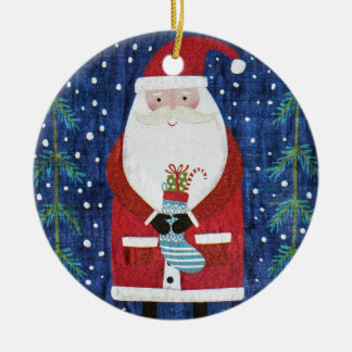 Santa with Stocking Ceramic Ornament