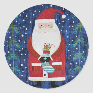 Santa with Stocking Classic Round Sticker