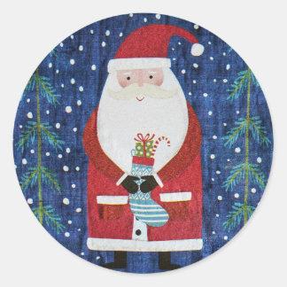 Santa with Stocking Classic Round Sticker