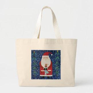 Santa with Stocking Large Tote Bag