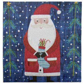 Santa with Stocking Napkin