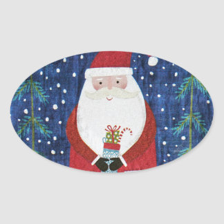 Santa with Stocking Oval Sticker