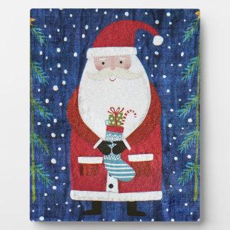 Santa with Stocking Plaque