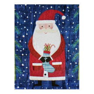 Santa with Stocking Postcard