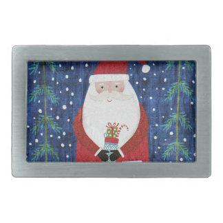 Santa with Stocking Rectangular Belt Buckle
