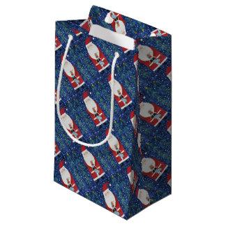 Santa with Stocking Small Gift Bag
