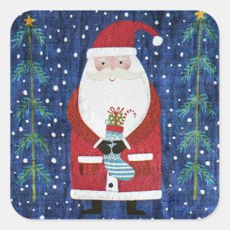 Santa with Stocking Square Sticker