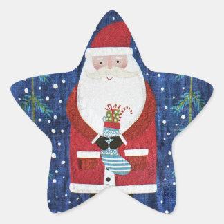 Santa with Stocking Star Sticker