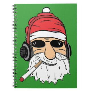 Santa With Sunglasses Cigarette and Headphones Notebooks