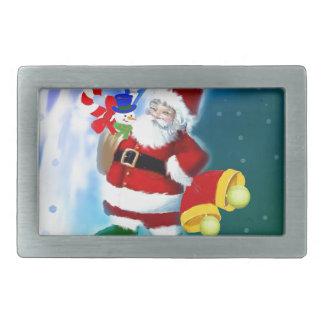 Santa with tennis racquet and bells belt buckle