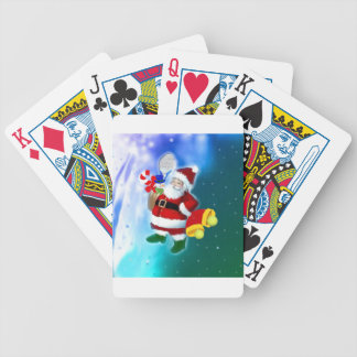 Santa with tennis racquet and bells bicycle playing cards