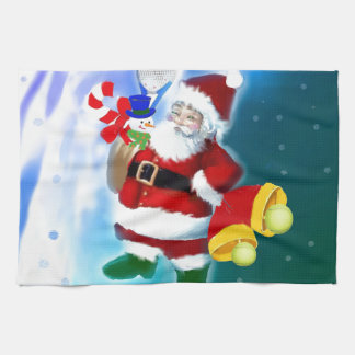 Santa with tennis racquet and bells kitchen towels