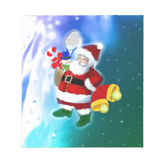 Santa with tennis racquet and bells notepad