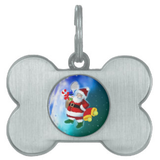 Santa with tennis racquet and bells pet name tag