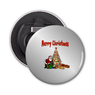 Santa with Toys Under Christmas Tree Button Bottle Opener