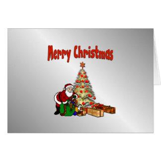 Santa with Toys Under Christmas Tree Card