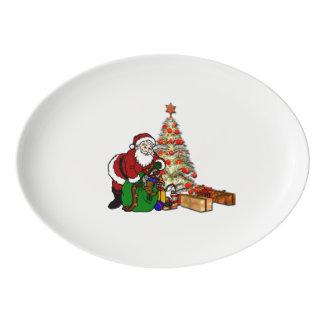 Santa with Toys Under Christmas Tree Porcelain Serving Platter