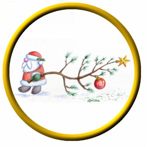 Santa With Tree Ornament Photo Cutout