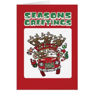 Santa Woody and His Reindeer Christmas Cartoon Card