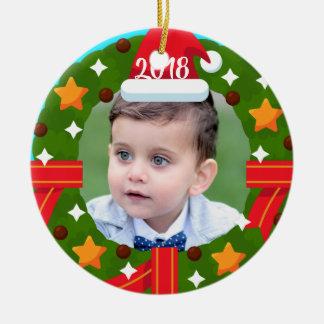 Santa Wreath Ceramic Ornament