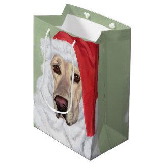 Santa Yellow Labrador Puppy Gift Bag