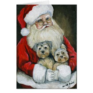 """Santa & Yorkies"" Dog Art Christmas Card"