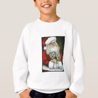 Santa & Yorkies Dog Art Kids Sweatshirt