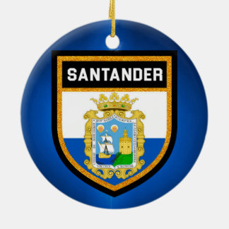 Santander Flag Round Ceramic Ornament