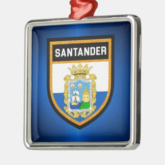 Santander Flag Silver-Colored Square Ornament