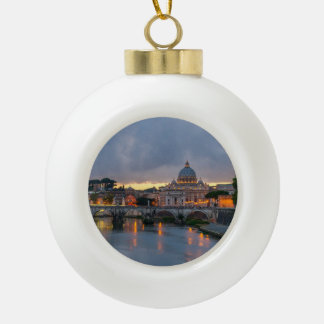Sant'Angelo bridge Saint Peter Basilica Rome Italy Ceramic Ball Christmas Ornament